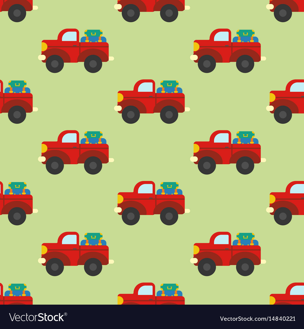 Car with luggage seamless pattern