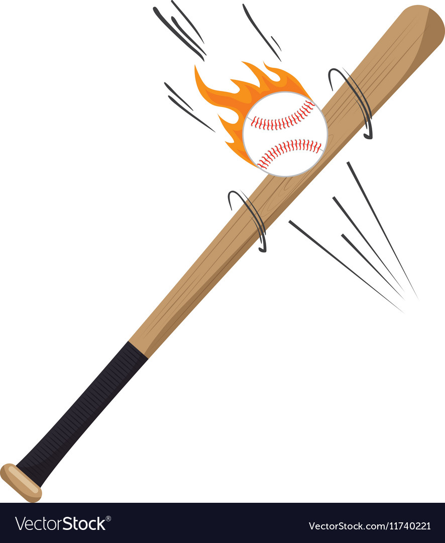 Cartoon bat ball flame baseball icons