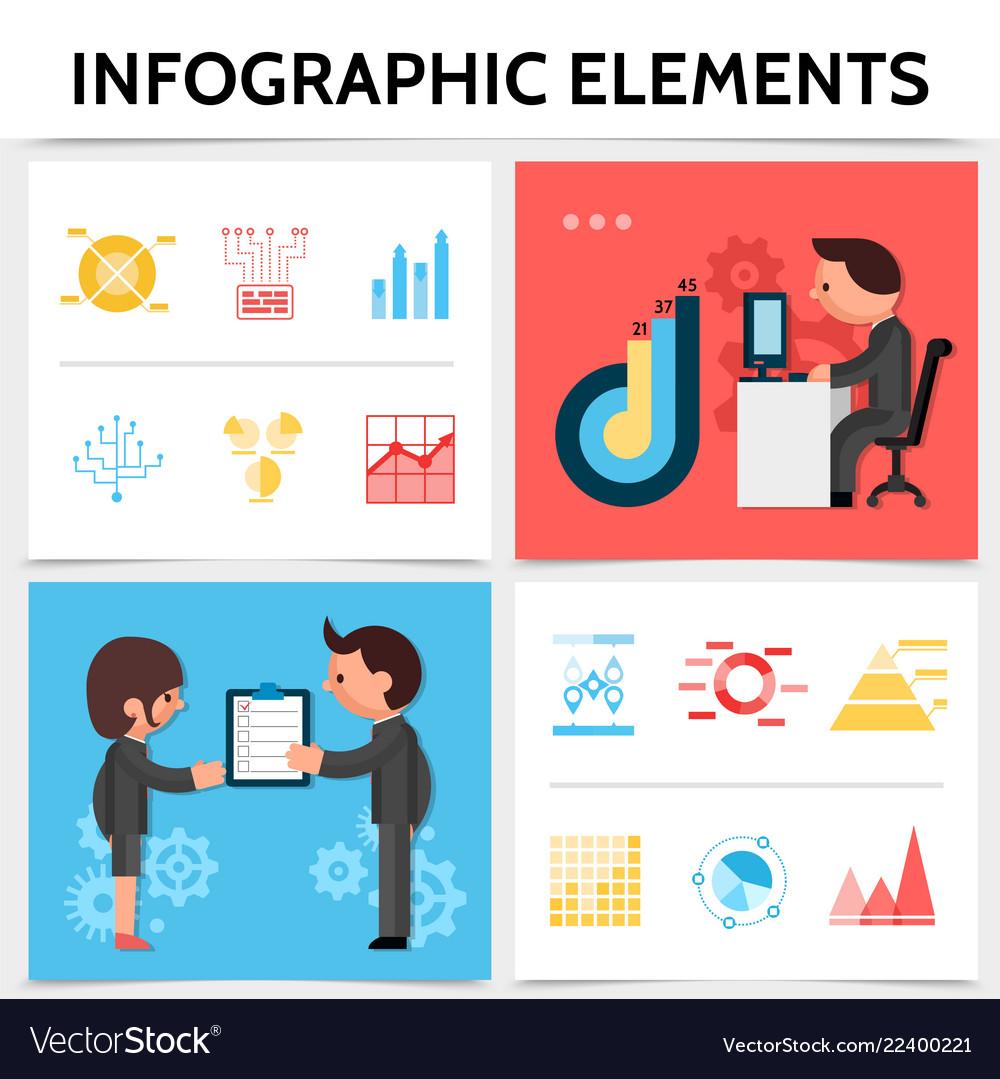 Flat infographic elements square concept