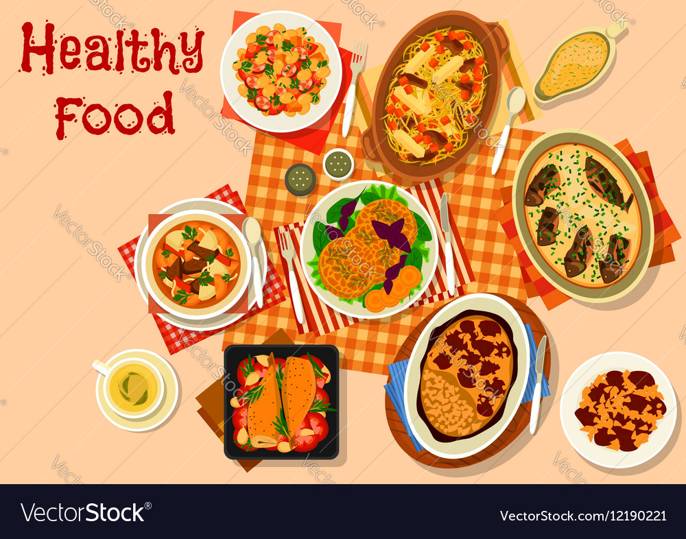 Hearty Dishes With Baked Meat And Fish Icon Vector Image