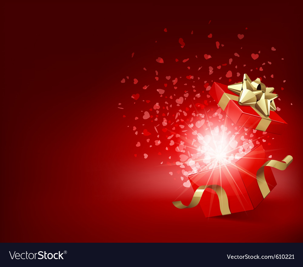 Open gift with fireworks