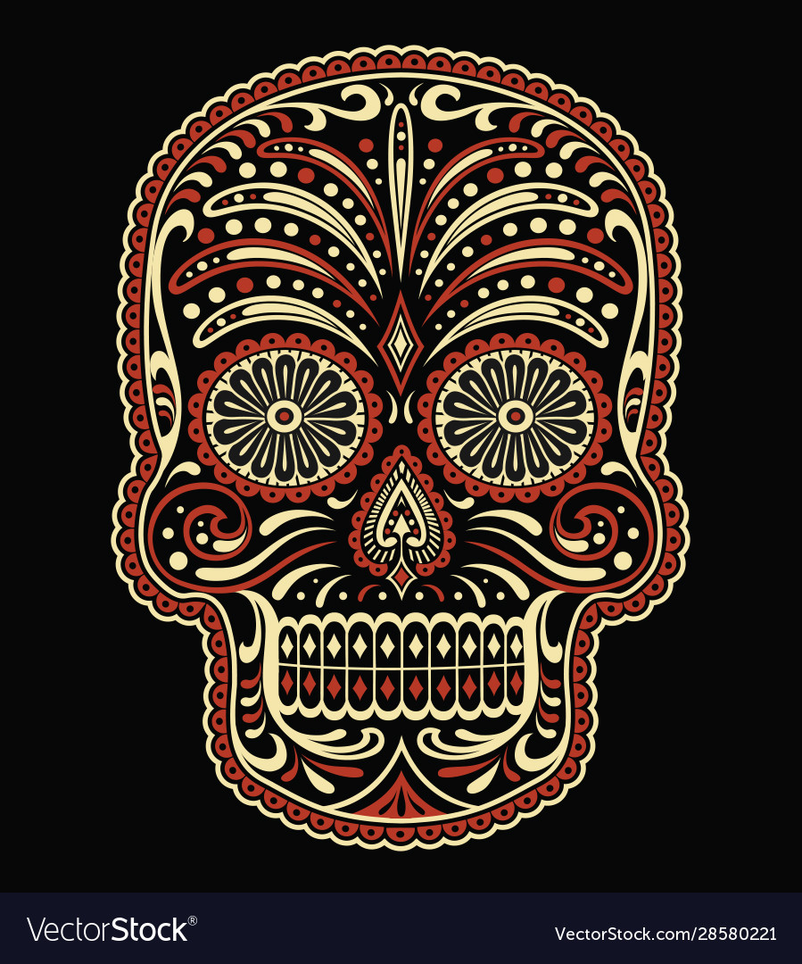 Ornate two color day dead sugar skull vector