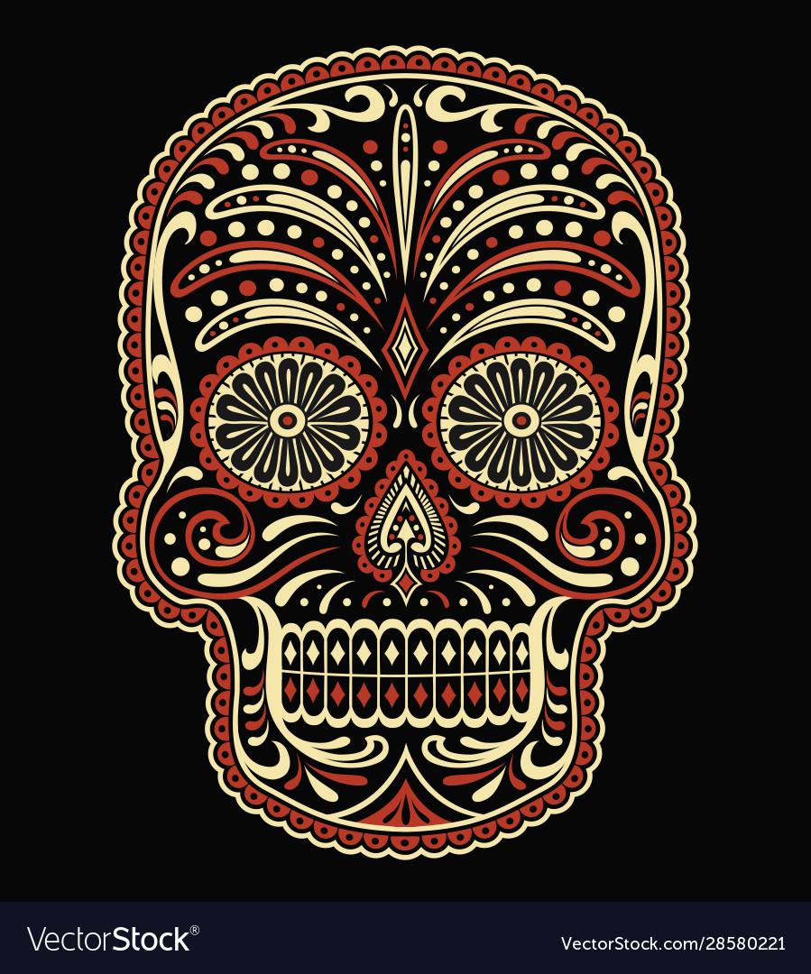 Ornate two color day dead sugar skull