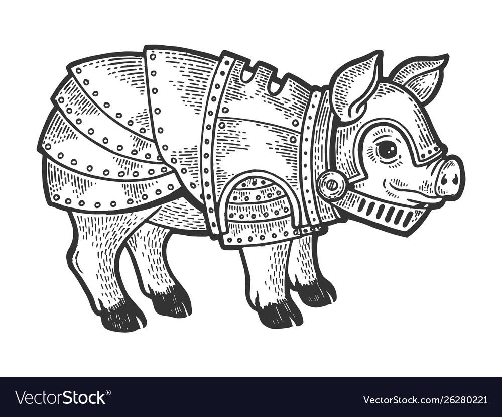 Pig in knight armor sketch engraving