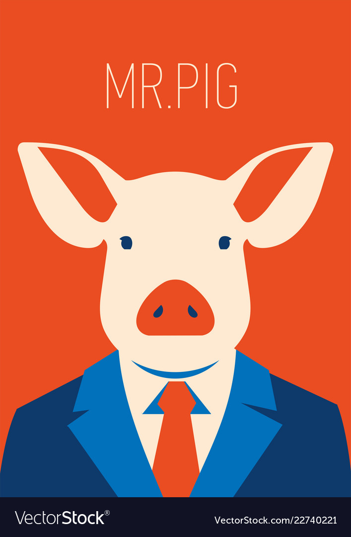Portait of a pig in suit and tie
