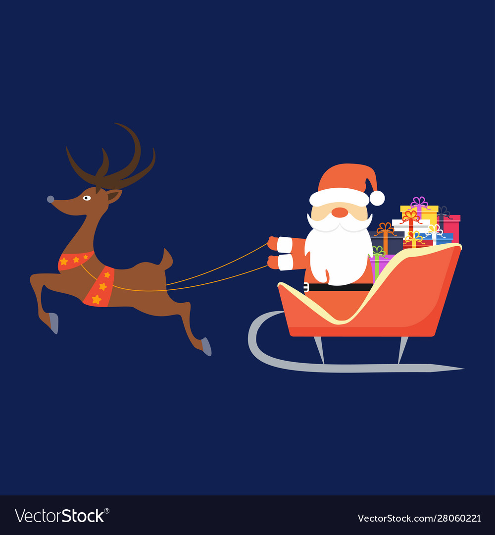 Santa claus flying in sleigh with gifts and deer