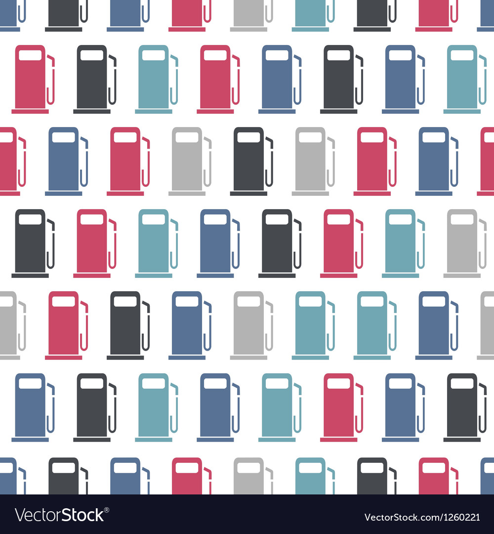 Seamless pattern with gas stations signs vector image