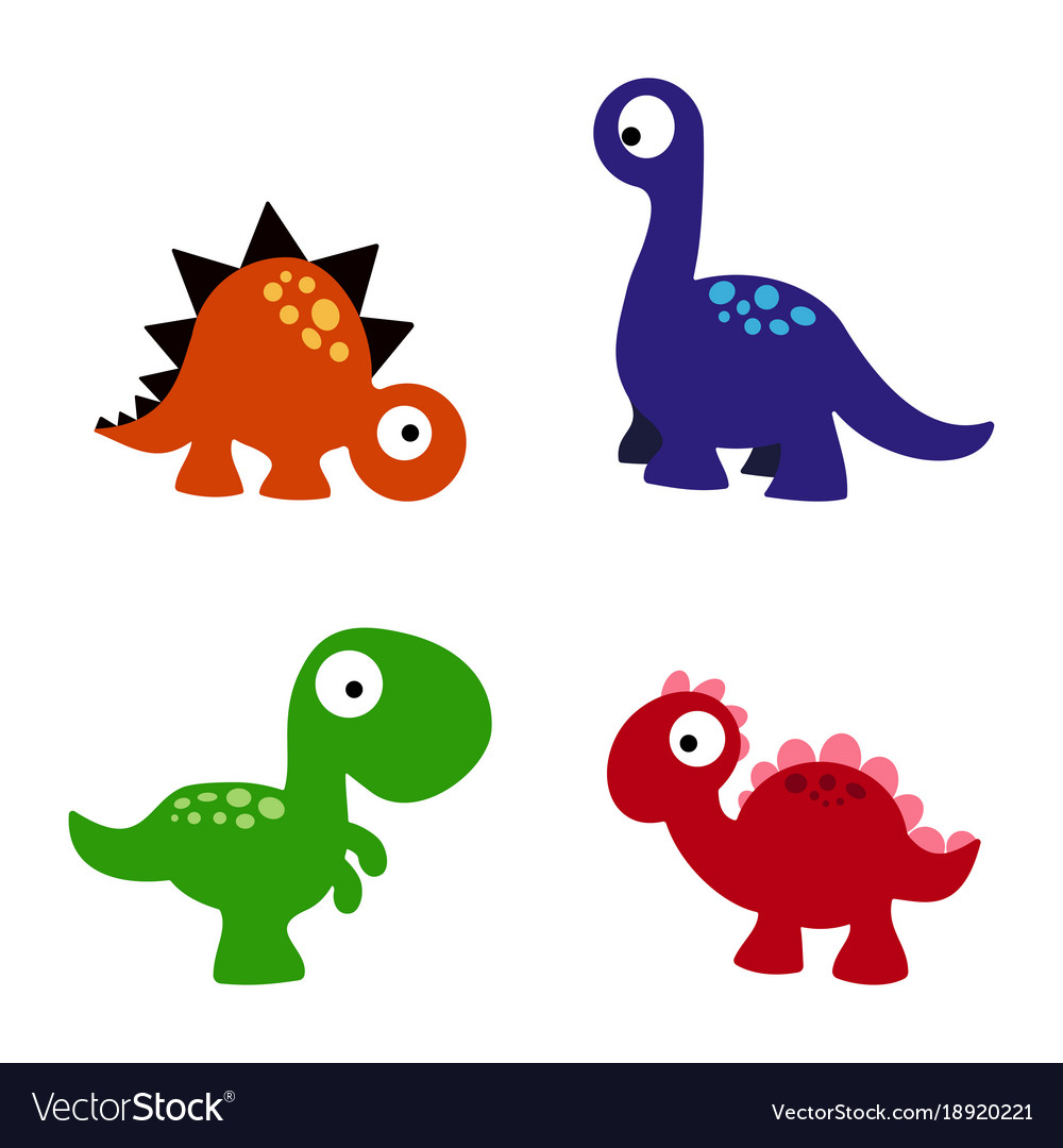Set cartoon dinosaurs Royalty Free Vector Image
