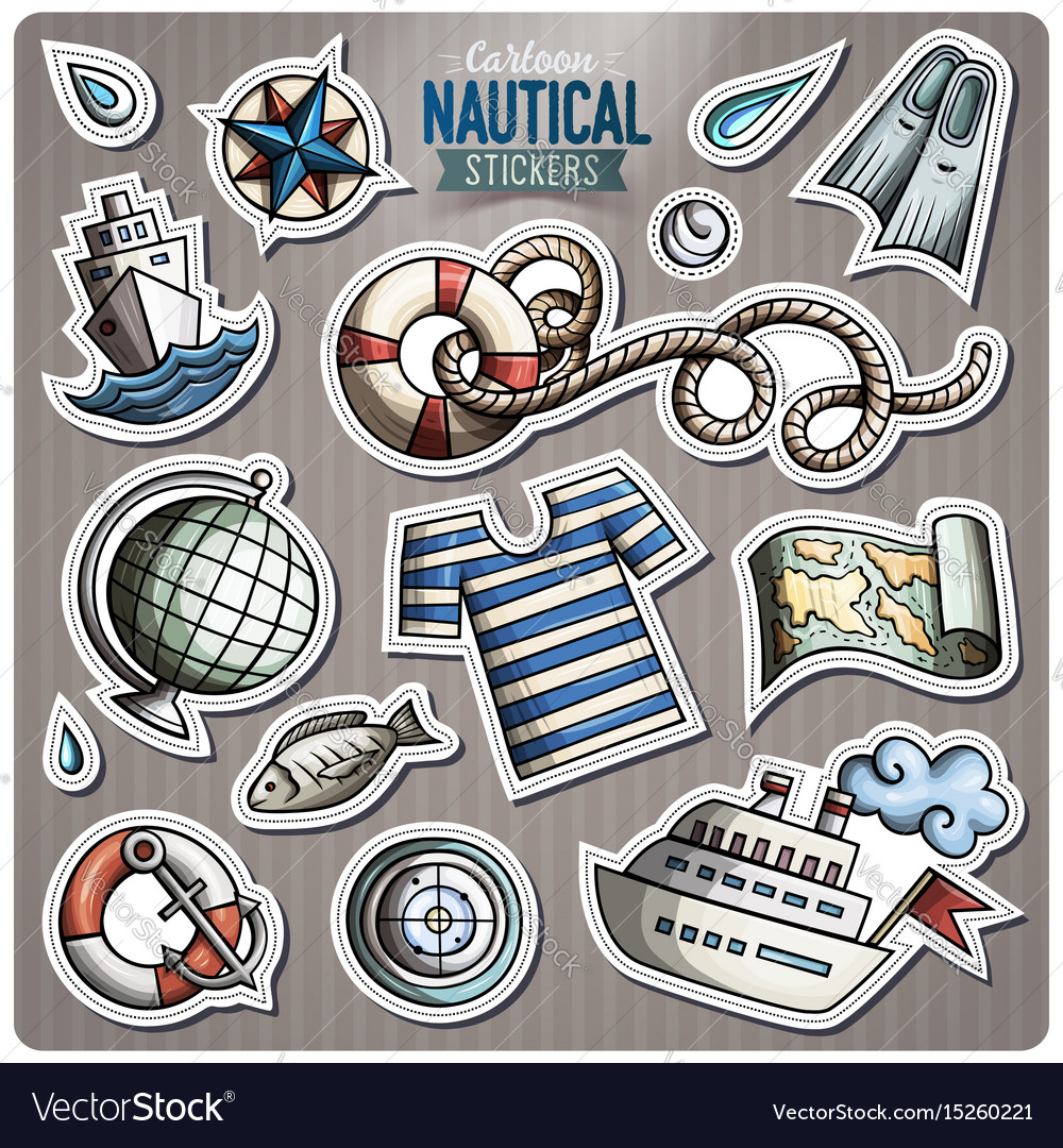 Set of nautical cartoon stickers vector image