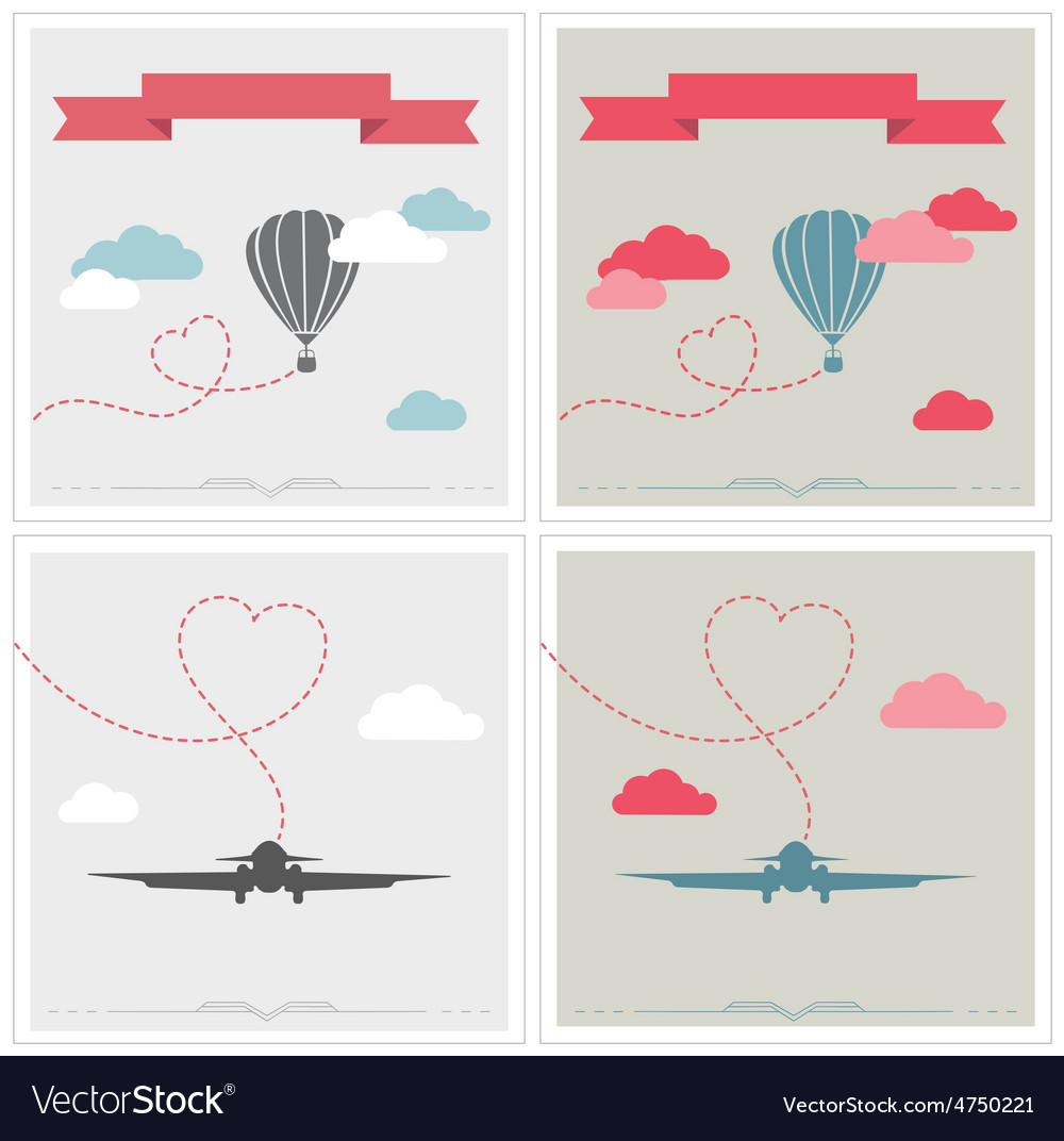 Set of retro cards with aerostat and plane flying