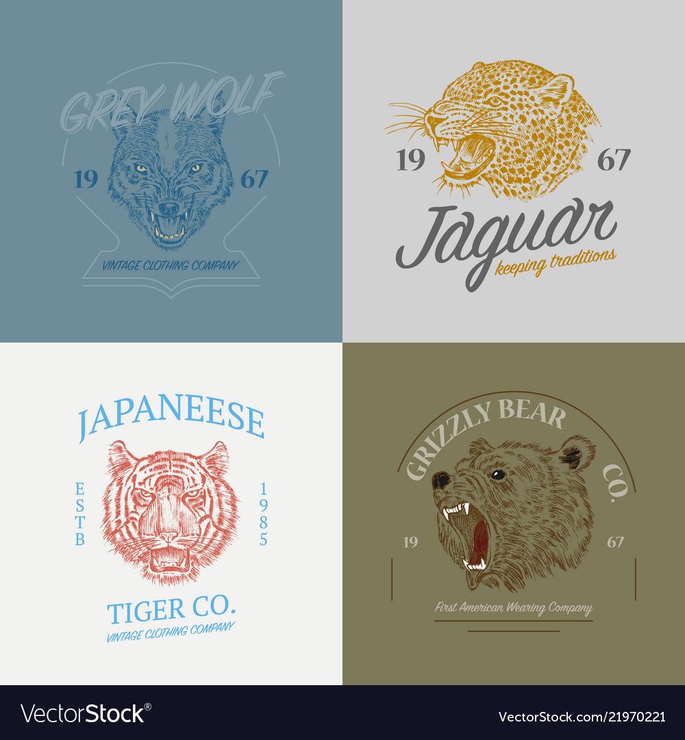 Set wild animals logos grunge label print