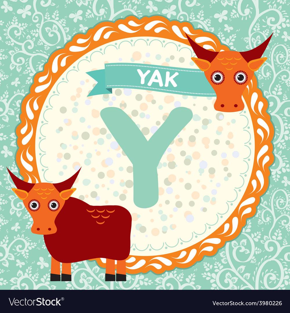 ABC animals Y is yak Childrens english alphabet