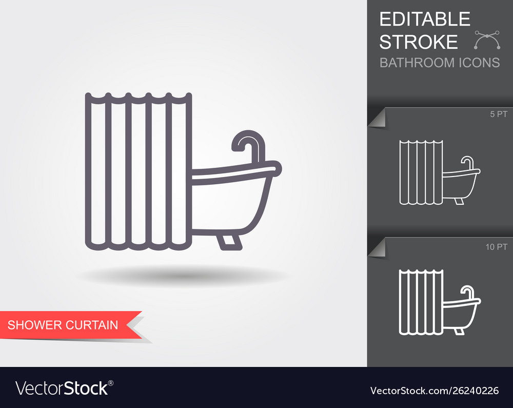 Bath with shower curtain line icon with editable