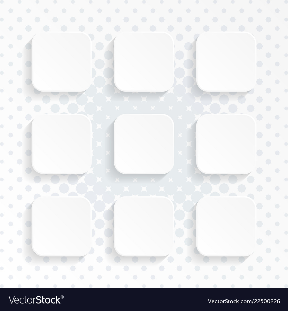 Blank white rounded square website buttons set