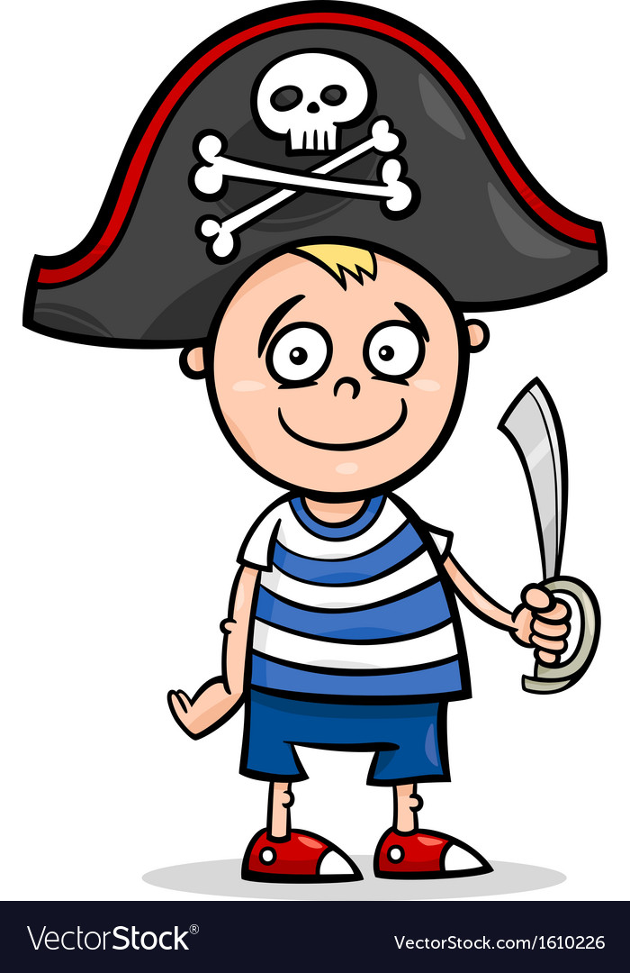 Boy in pirate costume cartoon vector image