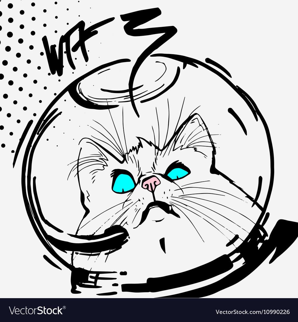 Cat space graphic line cartoon