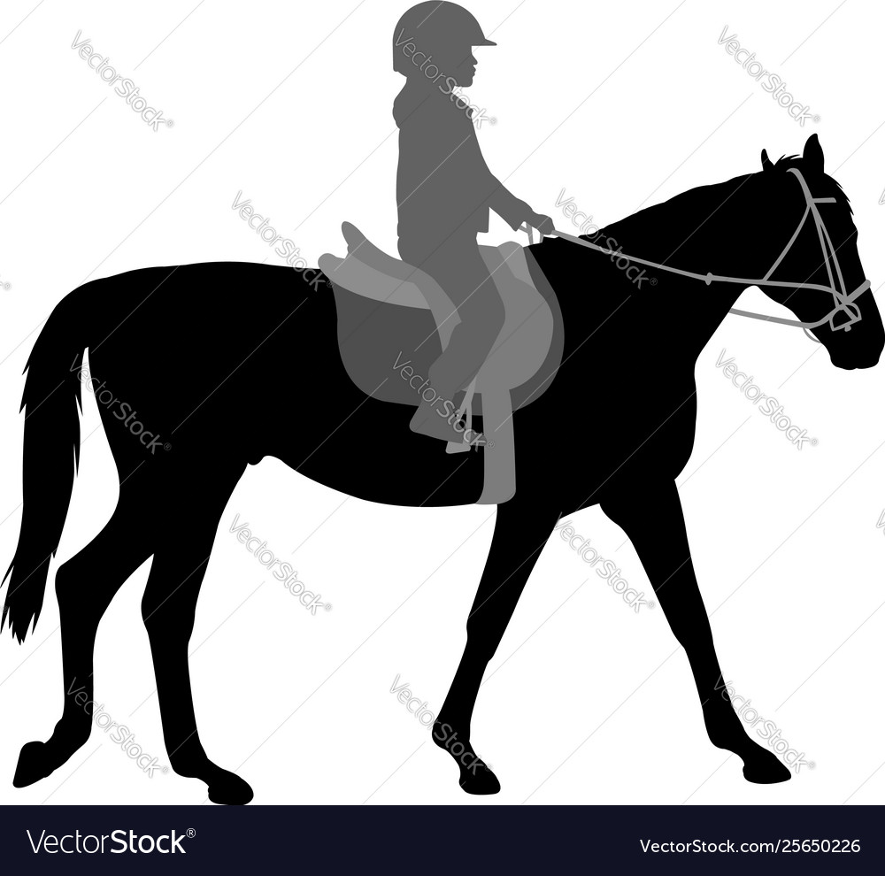 Child riding horse silhouette