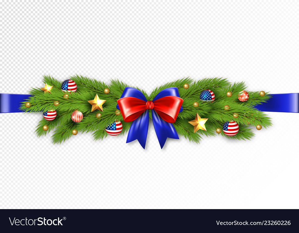 Christmas partiotic border vector