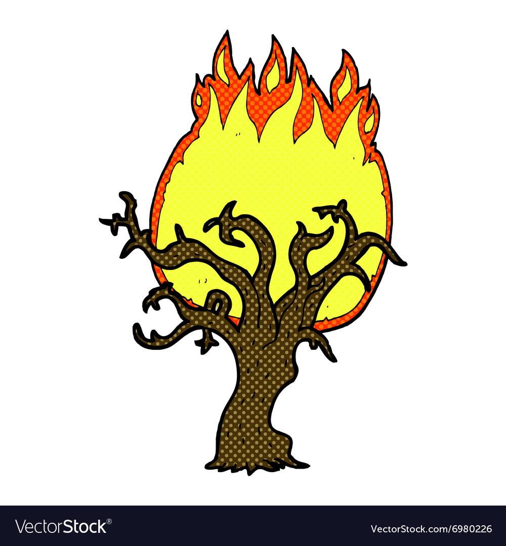 Comic cartoon winter tree on fire
