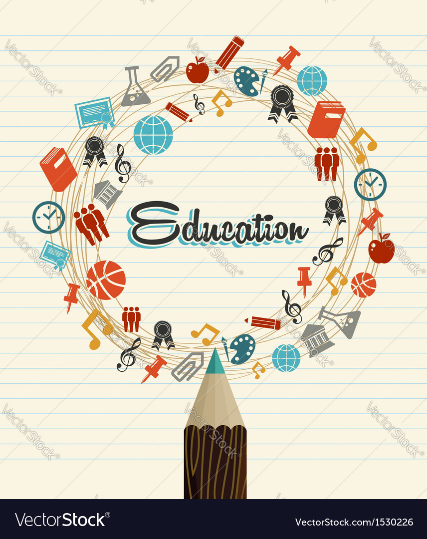 Education global icons back to school pencil