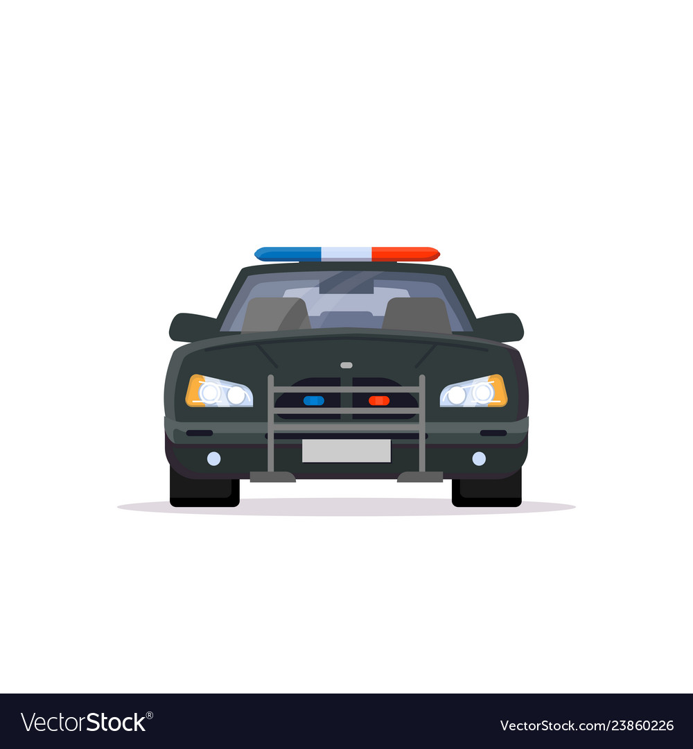 Front view of police car