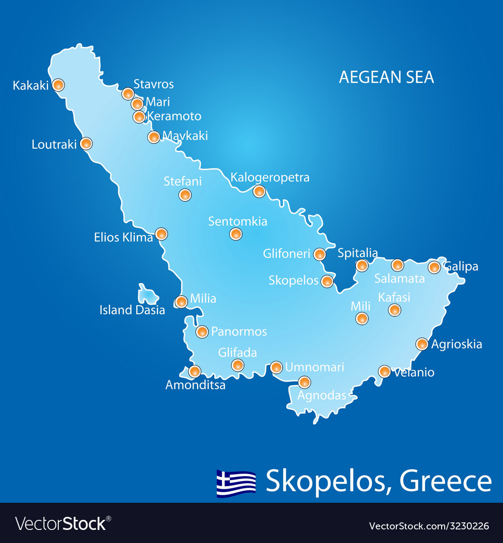 Island Of Skopelos In Greece Map Royalty Free Vector Image