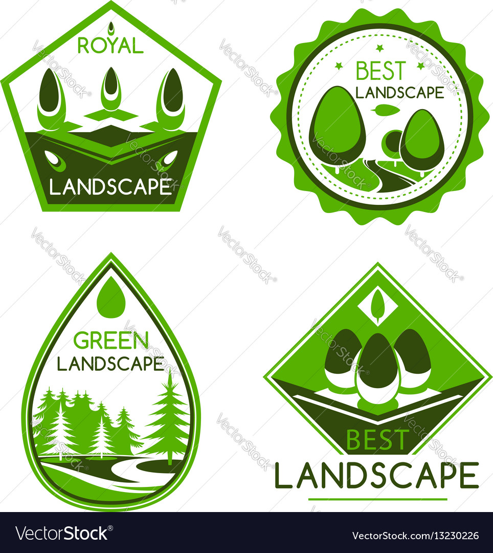 Landscape design icons or emblems set