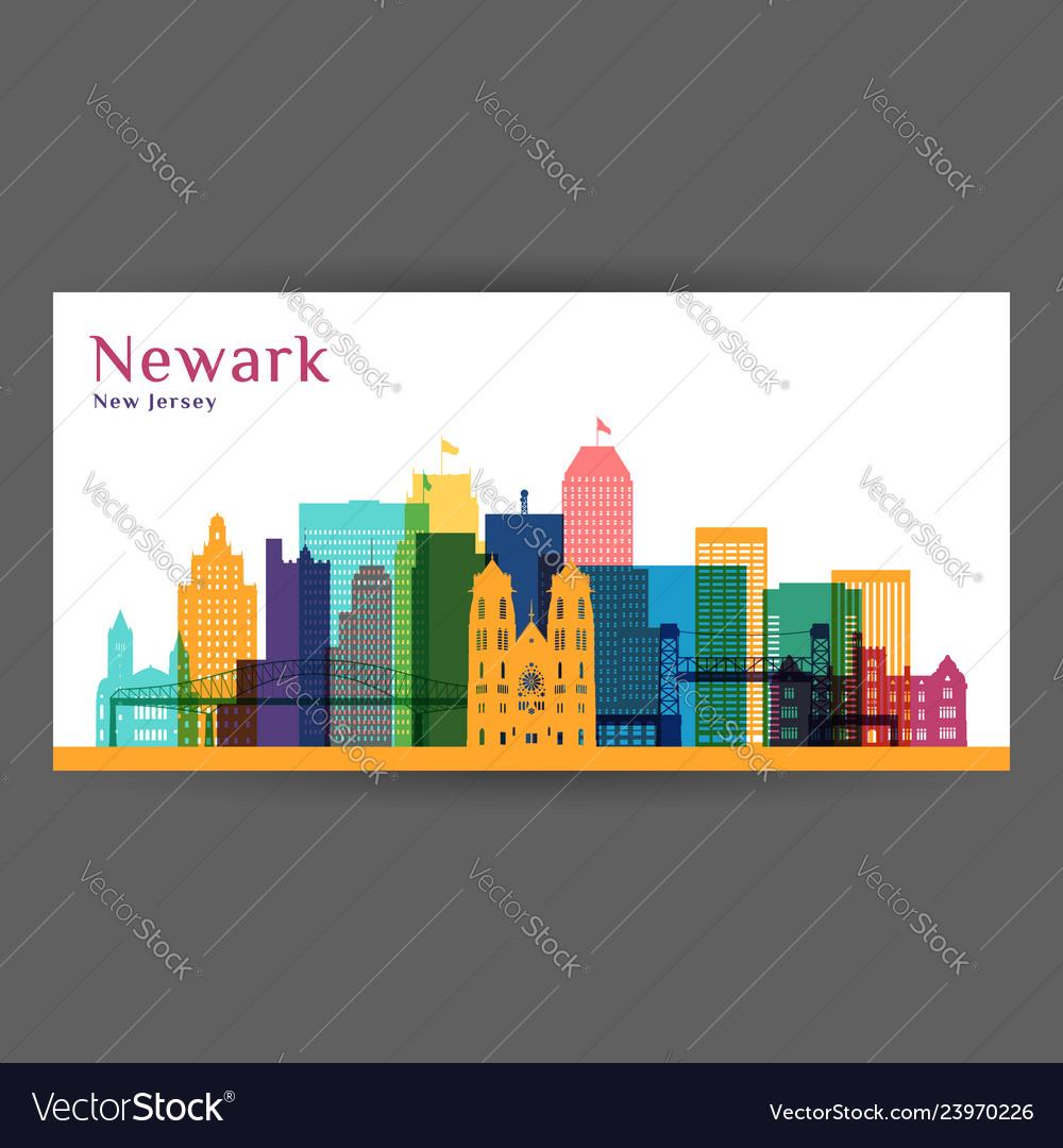 Newark city architecture silhouette