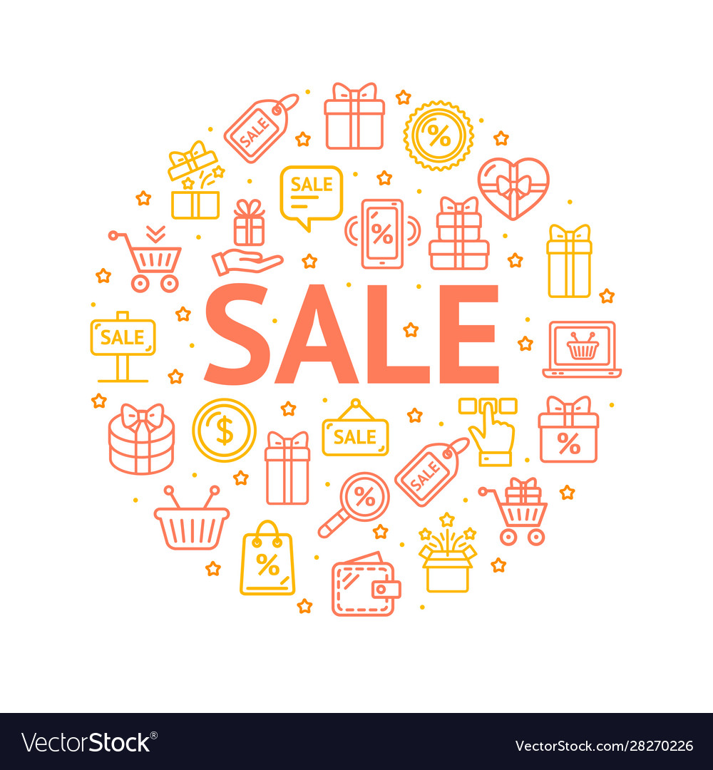 Sale signs round design template thin line icon