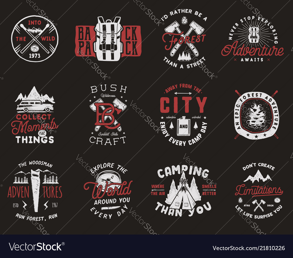 Travel badges set camping logos with hiking icons