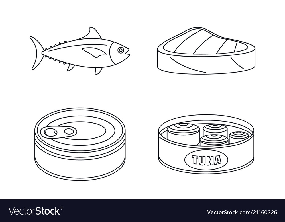 Tuna fish can steak icons set outline style