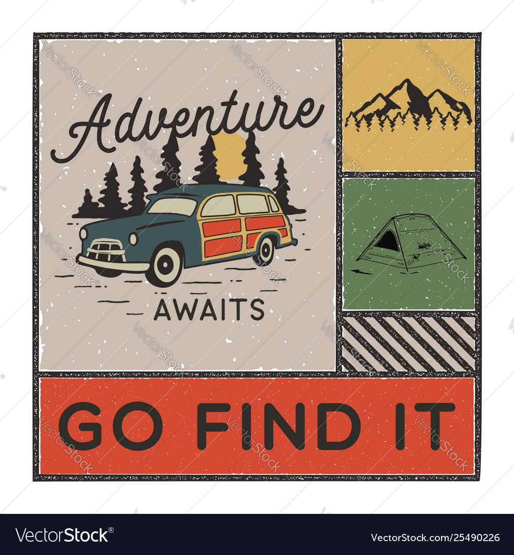 Vintage hand drawn adventure poster with mountains