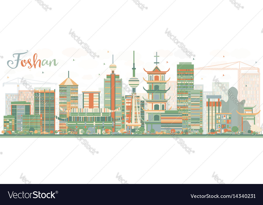 Abstract foshan skyline with color buildings