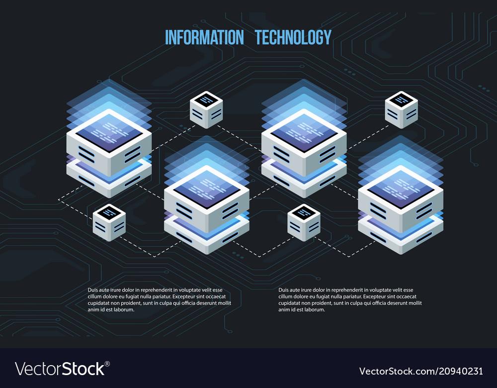 Concept of big data processing isometric data