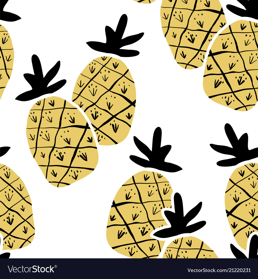 Kids hand drawn seamless pattern with pineapples