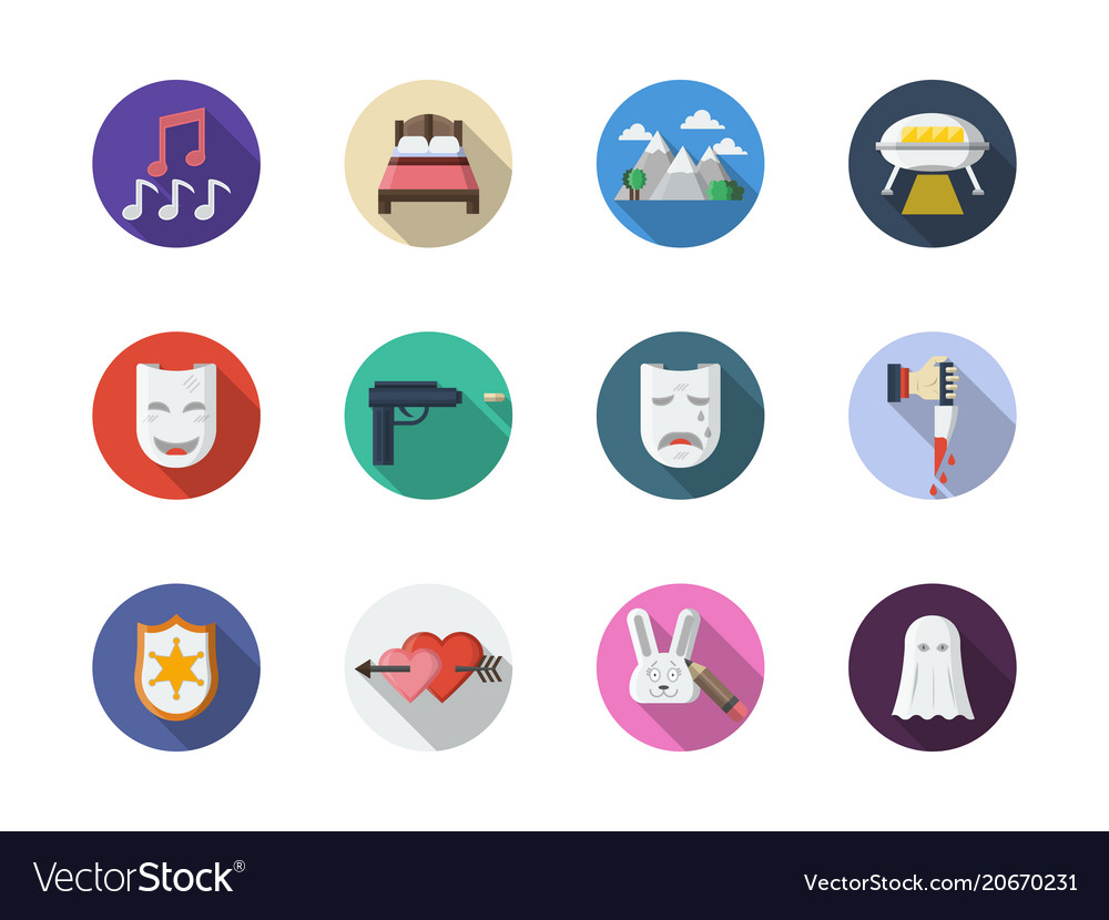 Movie genres flat round color icons set