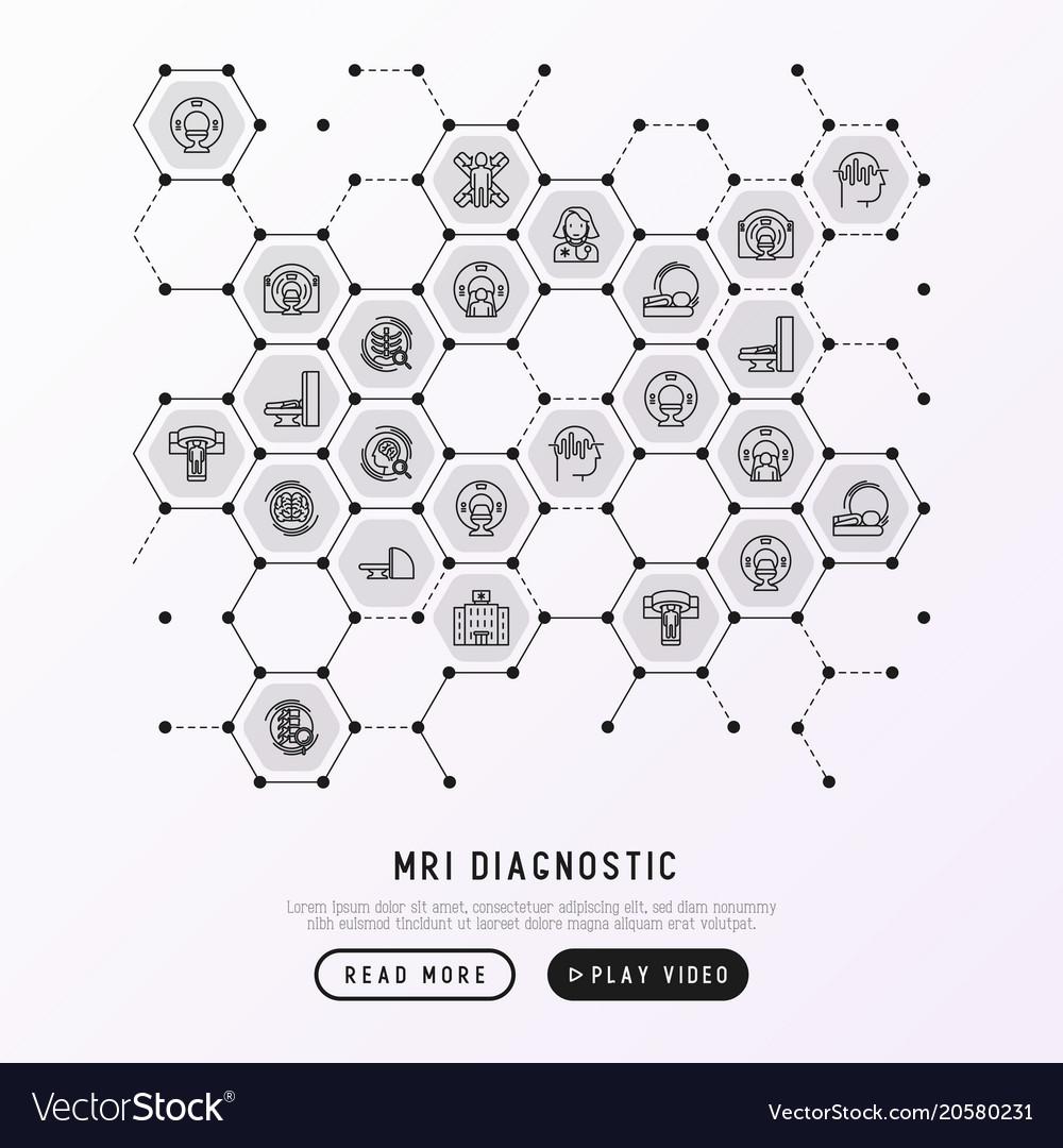 Mri diagnostics concept in honeycombs vector image