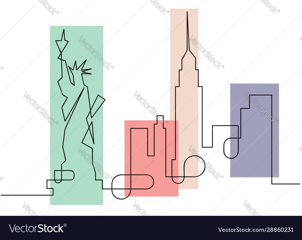 One line sketch style new york city skyline icon