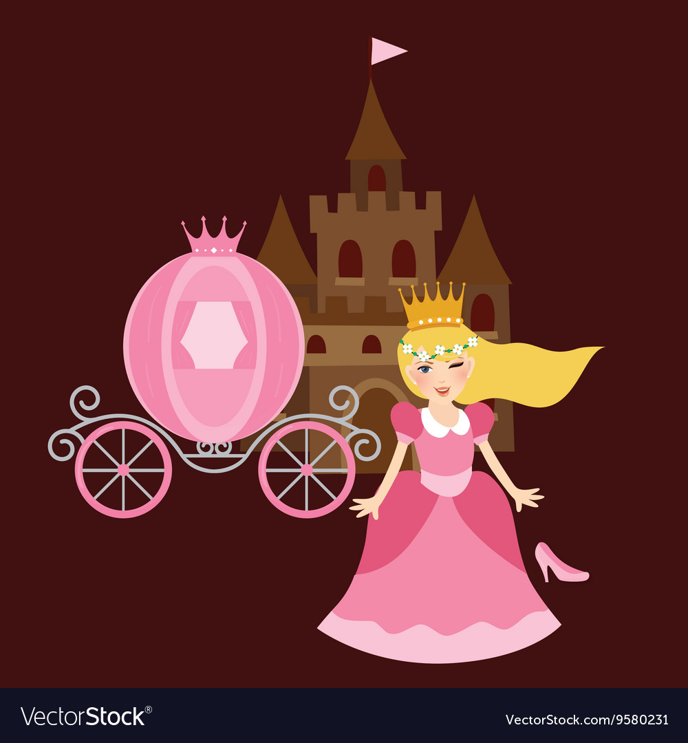 Princess cinderela with shoes carriage and castle