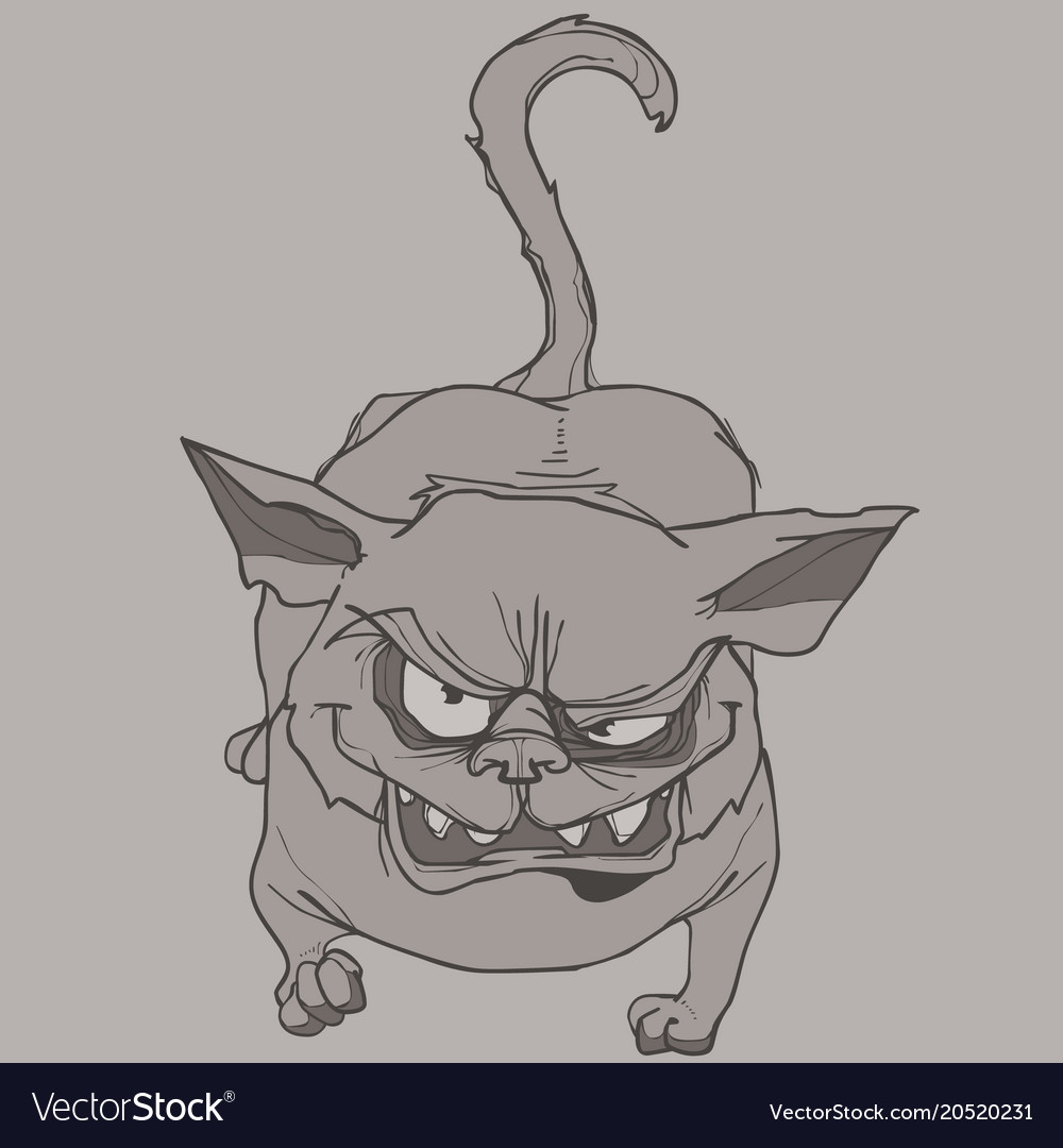 Scary Cartoon Cat Gets Angry And Shows His Teeth Vector Image