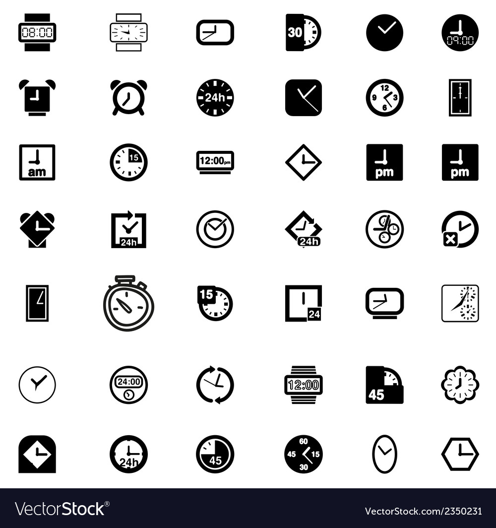 Set of Clock Icon Symbol vector image