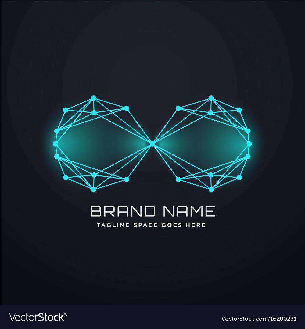 Techno digital infinity logo design concept vector image