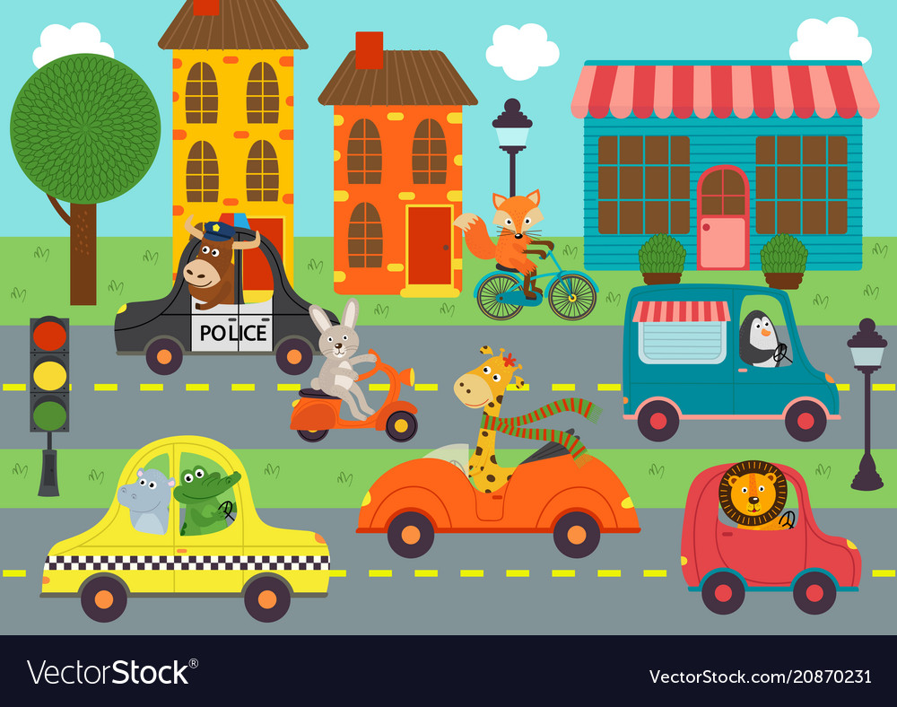 Transport with animals in town