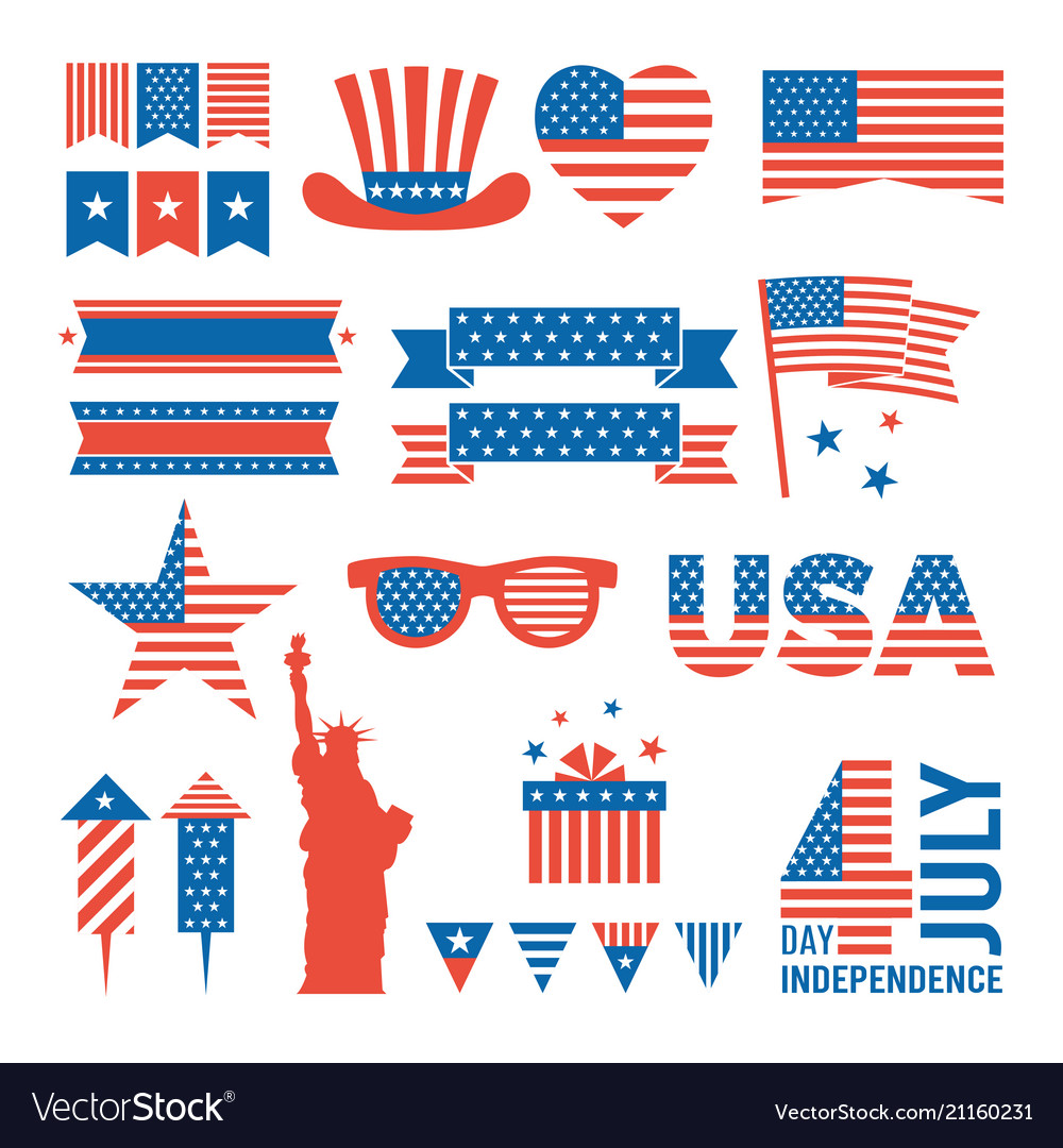 Usa independence day design elements for various