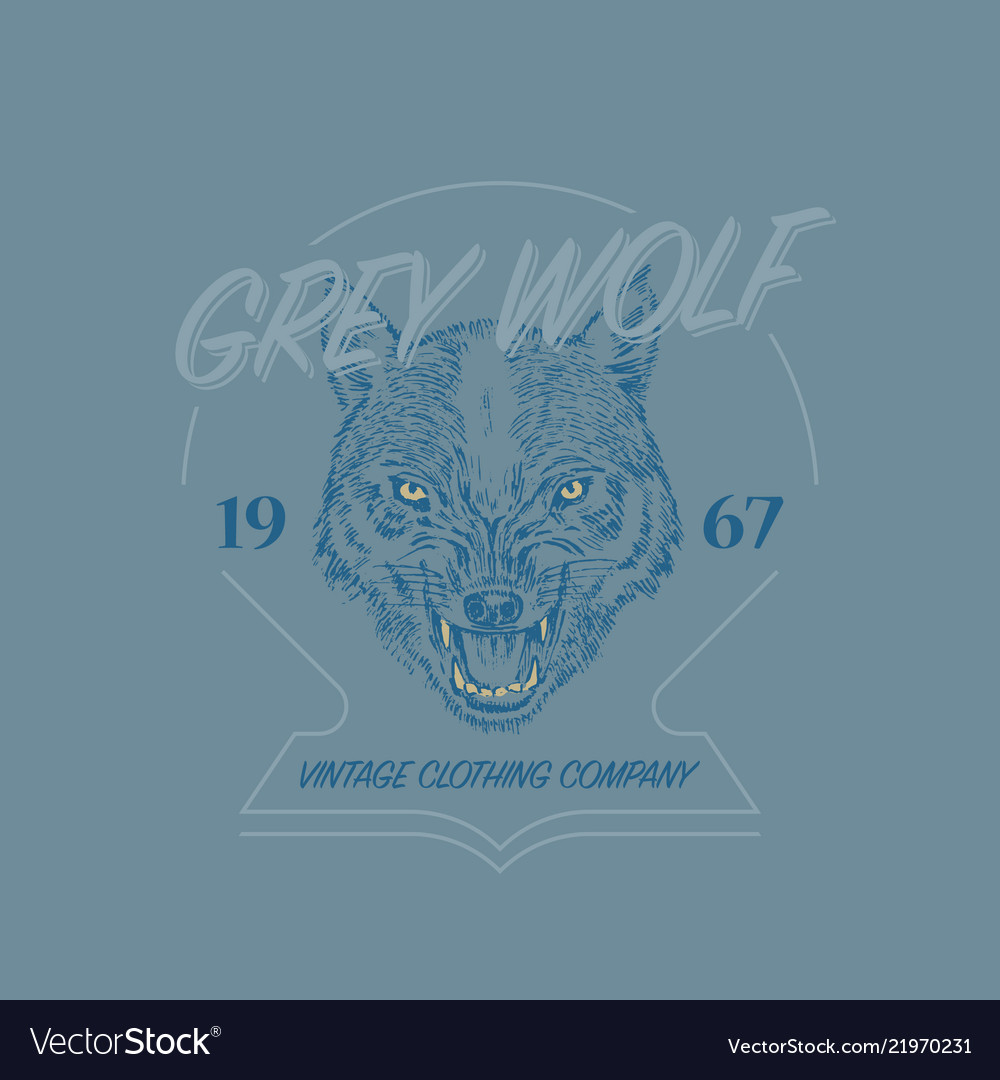 Wild wolf logo grunge label print angry animal