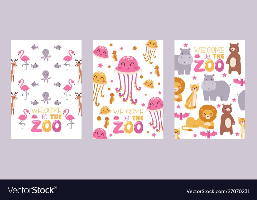Zoo animals isolated on white background