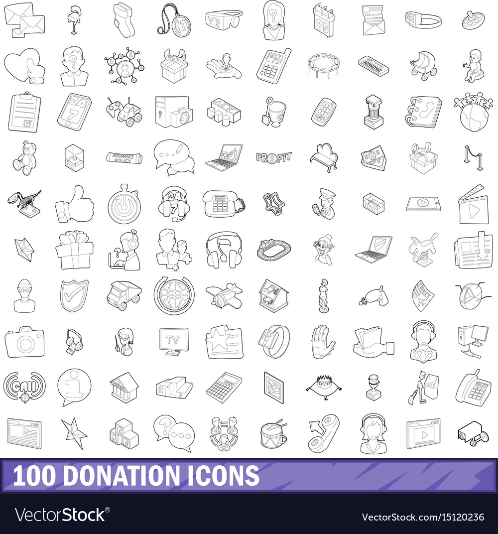 100 donation icons set outline style