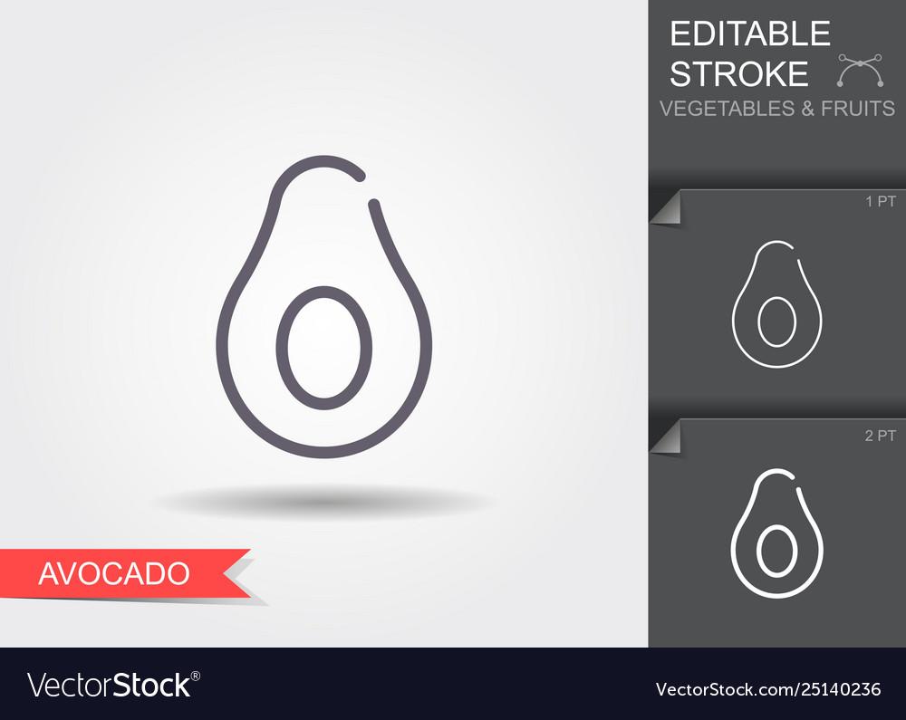 Avocado line icon with editable stroke with