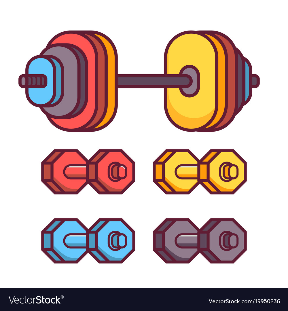 Barbell and dumbbell icons