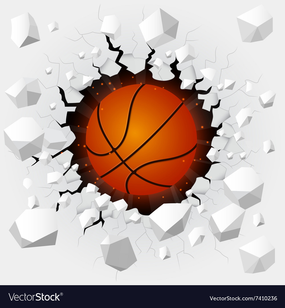 Basketball and with wall damage vector image